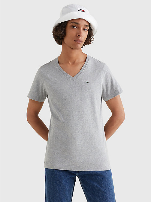 TOMMY JEANS V-Neck T-Shirt - LT GREY HTR - TOMMY JEANS T-Shirts & Polos - main image