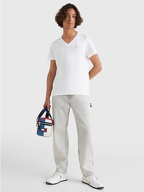 TOMMY JEANS V-Neck T-Shirt - CLASSIC WHITE - TOMMY JEANS T-Shirts & Polos - detail image 1