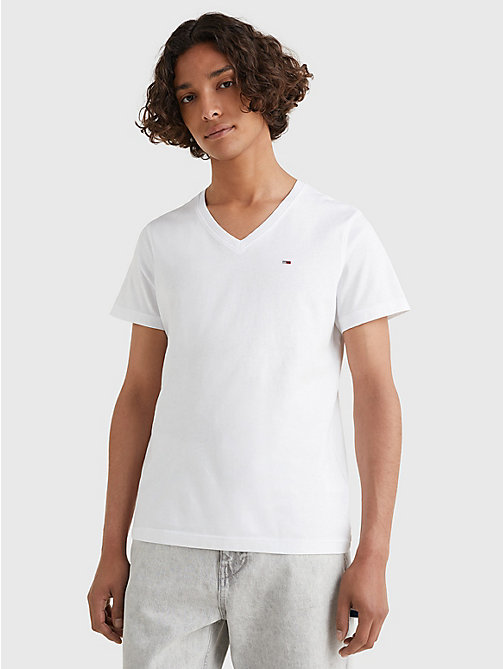 TOMMY JEANS V-Neck T-Shirt - CLASSIC WHITE - TOMMY JEANS T-Shirts & Polos - main image