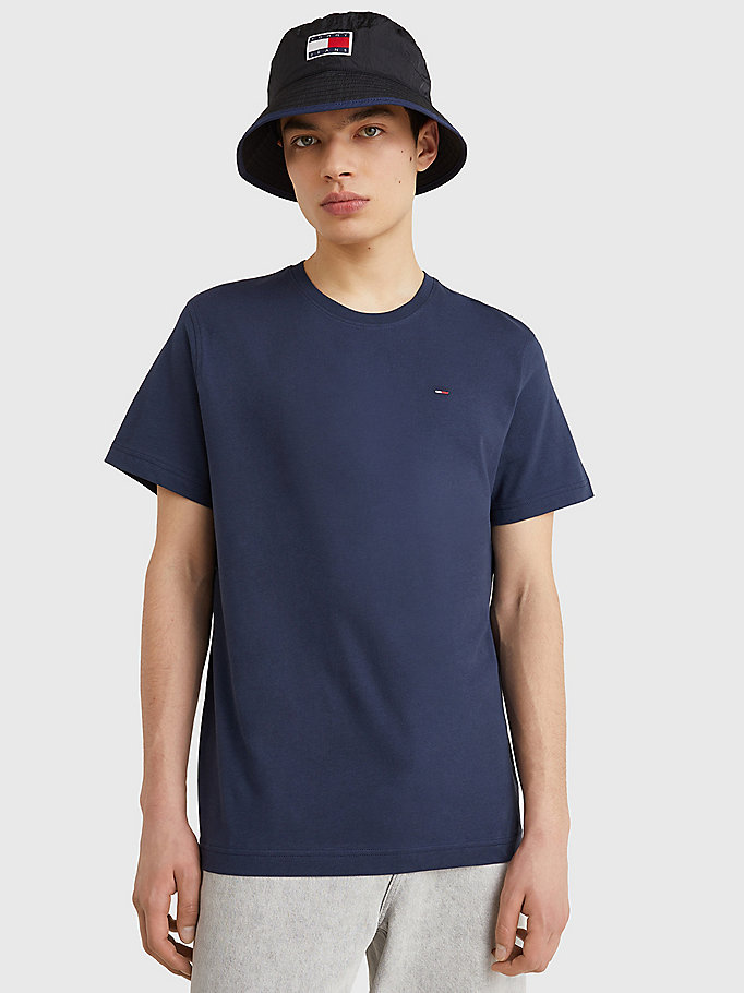 blue regular fit crew t-shirt for men tommy jeans