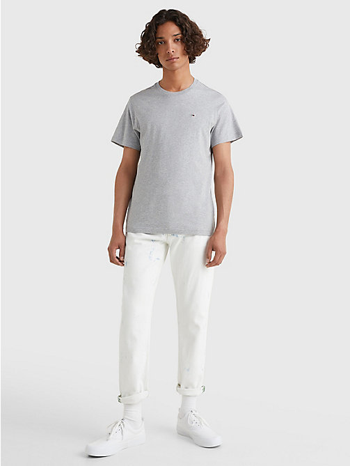 TOMMY JEANS Regular Fit Crew T-Shirt - LT GREY HTR - TOMMY JEANS T-Shirts & Polos - detail image 1