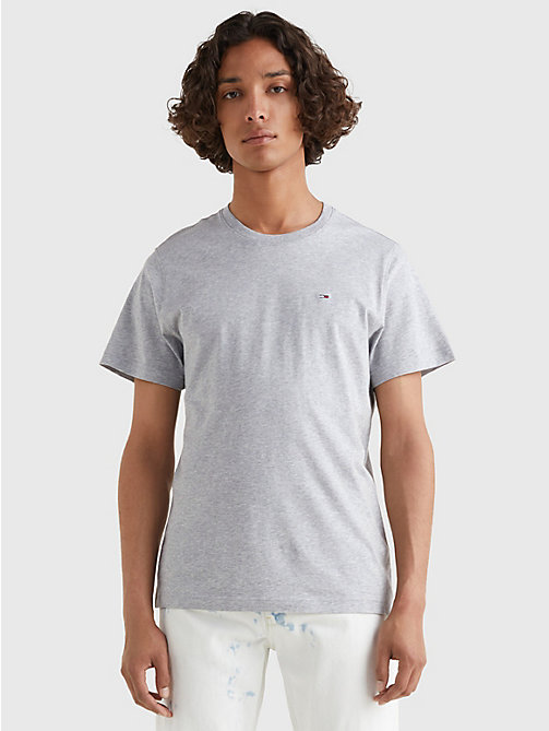 TOMMY JEANS Regular Fit T-Shirt mit Rundhalsausschnitt - LT GREY HTR - TOMMY JEANS T-Shirts & Poloshirts - main image