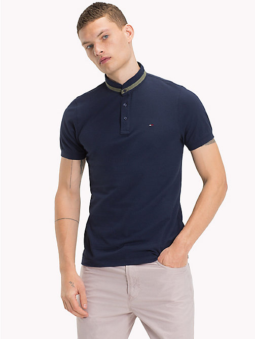 Stand Up Collar Polo - BLACK IRIS - TOMMY JEANS Clothing - main image