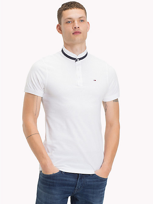 TOMMY JEANS Stand Up Collar Polo - CLASSIC WHITE - TOMMY JEANS T-Shirts & Polos - main image
