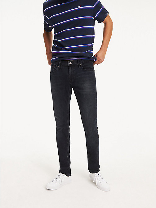 TOMMY JEANS Dark Wash Slim Fit Jeans - COBBLE BLACK COMFORT - TOMMY JEANS Clothing - main image