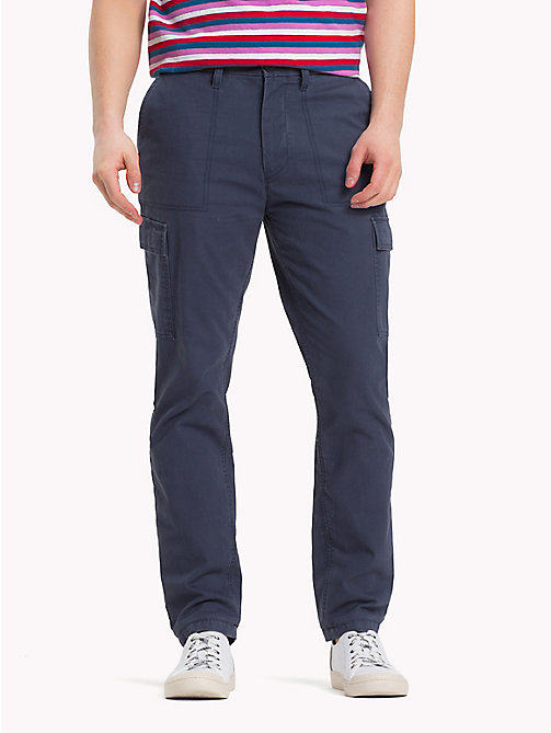 TOMMY JEANS Pure Cotton Cargo Trousers - BLACK IRIS - TOMMY JEANS Clothing - main image