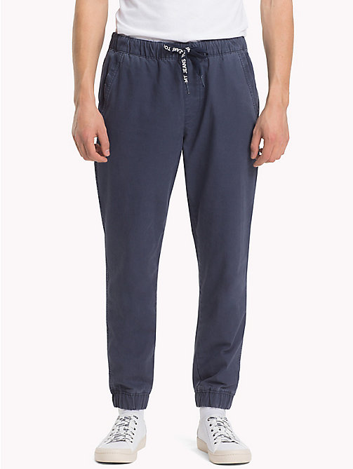 TOMMY JEANS Pure Cotton Cuffed Trousers - BLACK IRIS - TOMMY JEANS Trousers & Shorts - main image