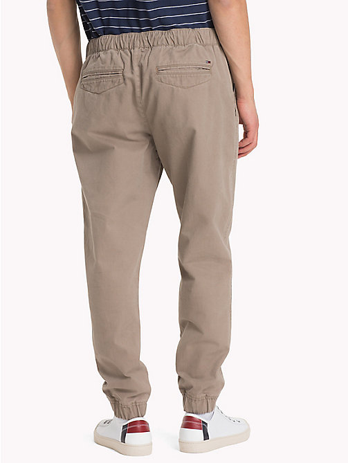 TOMMY JEANS Pure Cotton Cuffed Trousers - WALNUT - TOMMY JEANS Clothing - detail image 1