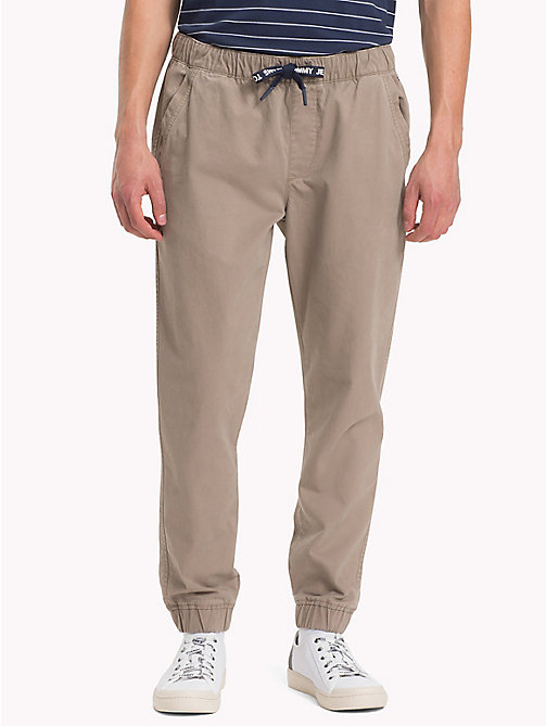 TOMMY JEANS Pure Cotton Cuffed Trousers - WALNUT - TOMMY JEANS Clothing - main image