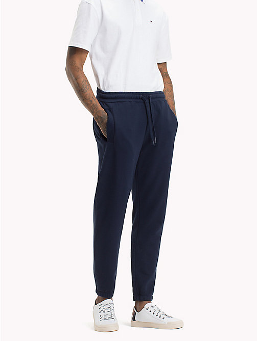 TOMMY JEANS Essential Stretch Cotton Sweatpants - BLACK IRIS HTR - TOMMY JEANS Trousers & Shorts - main image