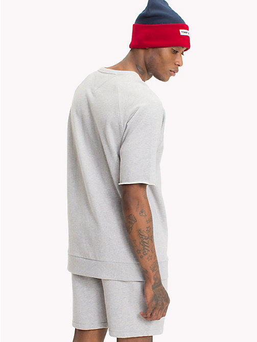 TOMMY JEANS Short Sleeve Crew Neck Jumper - LT GREY HTR - TOMMY JEANS Festivals Season - detail image 1