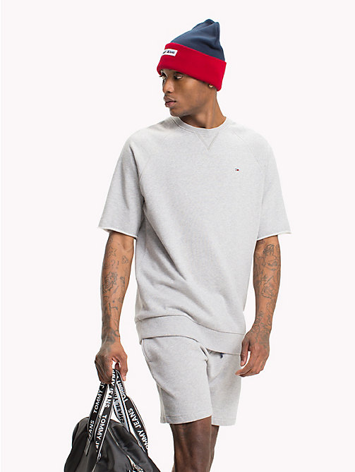 TOMMY JEANS Short Sleeve Crew Neck Jumper - LT GREY HTR - TOMMY JEANS Festivals Season - main image