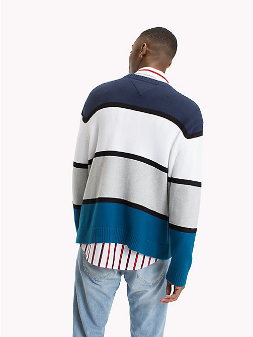 TOMMY JEANS Colour-Blocked Logo Jumper - BLUE SAPPHIRE/MULTI - TOMMY JEANS Knitwear - detail image 1