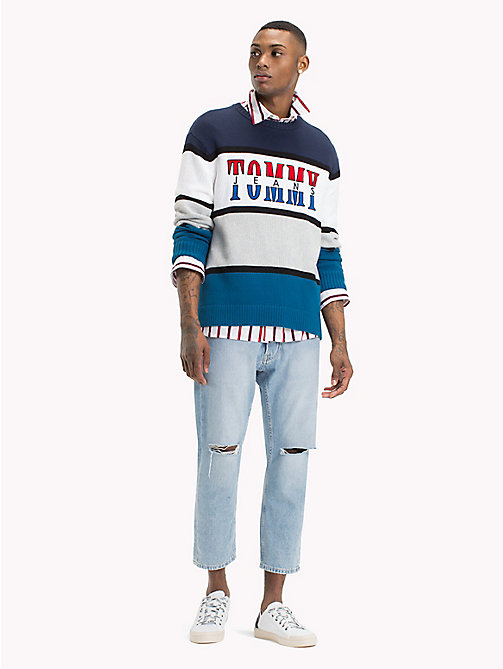 TOMMY JEANS Colour-Blocked Logo Jumper - BLUE SAPPHIRE / MULTI - TOMMY JEANS Knitwear - main image