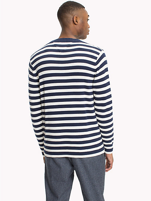 TOMMY JEANS Stripe Crew Neck Jumper - BLACK IRIS/MARSHMALLOW -  Knitwear - detail image 1