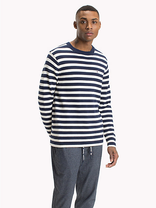 TOMMY JEANS Stripe Crew Neck Jumper - BLACK IRIS / MARSHMALLOW - TOMMY JEANS Jumpers - main image