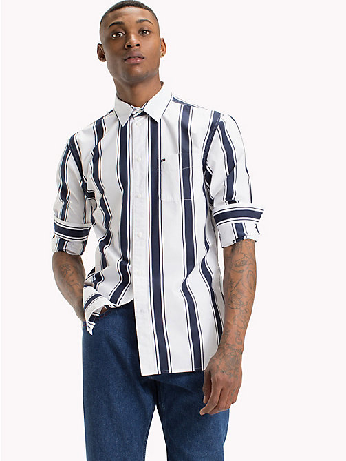 TOMMY JEANS Gestreiftes Hemd - CLASSIC WHITE / BLACK IRIS - TOMMY JEANS Hemden - main image