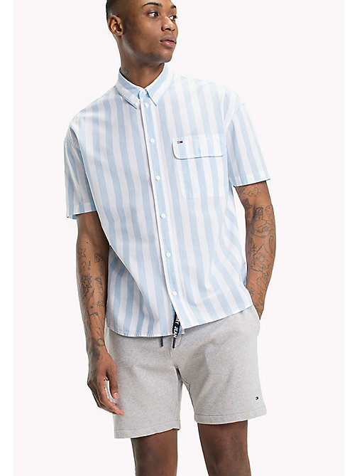 TOMMY JEANS Pique Camp Shirt - AIR BLUE / CLASSIC WHITE - TOMMY JEANS Men - main image