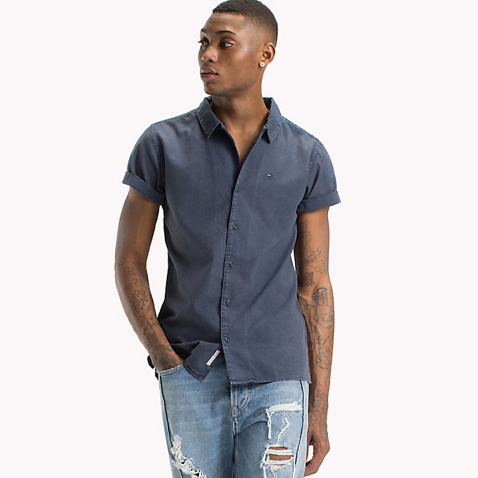 TOMMY JEANS Pique Camp Shirt - AIR BLUE - TOMMY JEANS Men - main image