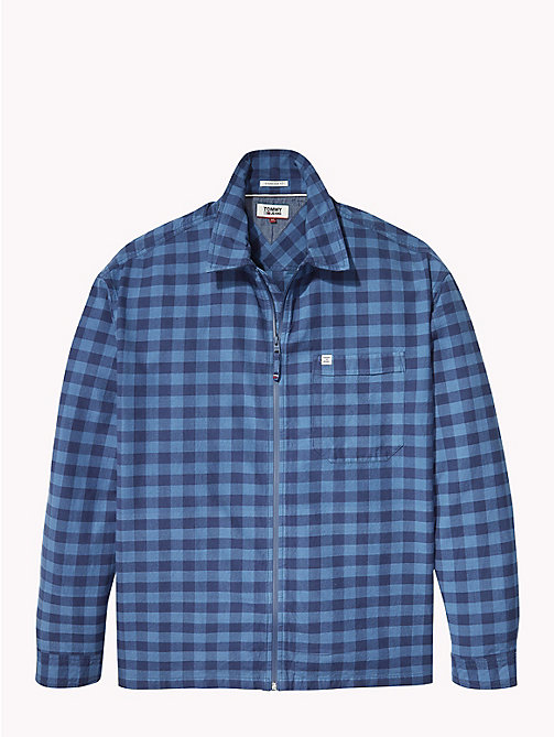 TOMMY JEANS Zip Front Check Shirt - BLUE SAPPHIRE GINGHAM - TOMMY JEANS Shirts - detail image 1