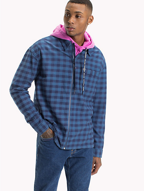 TOMMY JEANS Zip Front Check Shirt - BLUE SAPPHIRE GINGHAM - TOMMY JEANS Shirts - main image