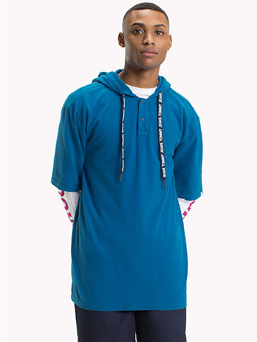 TOMMY JEANS Oversized Fit Hooded Polo - BLUE SAPPHIRE -  T-Shirts & Polos - main image