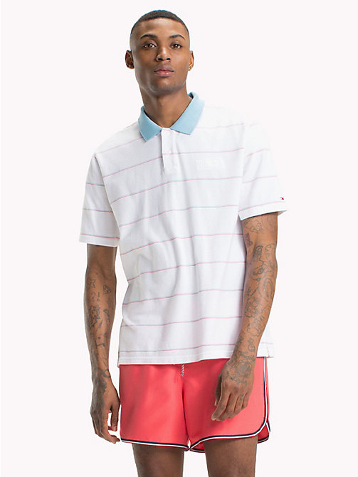 TOMMY JEANS Retro Stripe Polo Shirt - CLASSIC WHITE - TOMMY JEANS T-Shirts & Polos - main image