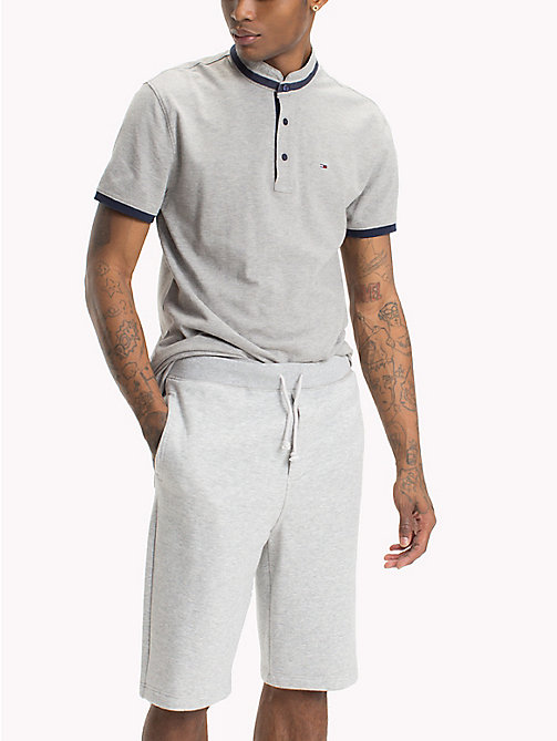 TOMMY JEANS Regular Fit Stand Up Collar Polo - LT GREY HTR - TOMMY JEANS T-Shirts & Polos - main image