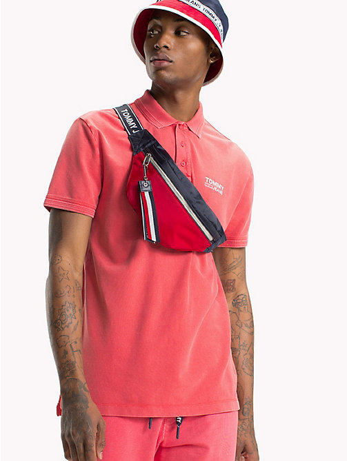 TOMMY JEANS Pique Polo Shirt - ROSE OF SHARON - TOMMY JEANS T-Shirts & Polos - main image