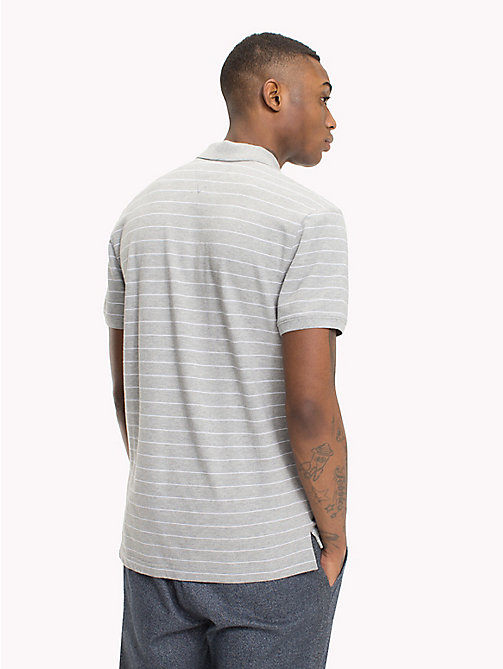 TOMMY JEANS Regular Fit Stripe Polo - LT GREY HTR - TOMMY JEANS T-Shirts & Polos - detail image 1