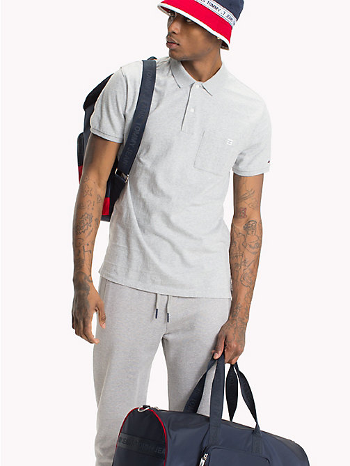 TOMMY JEANS Regular Fit Jersey Polo - LT GREY HTR - TOMMY JEANS Festival Season - main image
