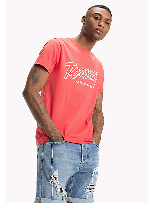 TOMMY JEANS Organic Cotton Script Logo T-Shirt - ROSE OF SHARON - TOMMY JEANS Sustainable Evolution - main image