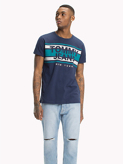 TOMMY JEANS Regular Fit Stripe Logo T-Shirt - BLACK IRIS - TOMMY JEANS T-Shirts & Polos - main image