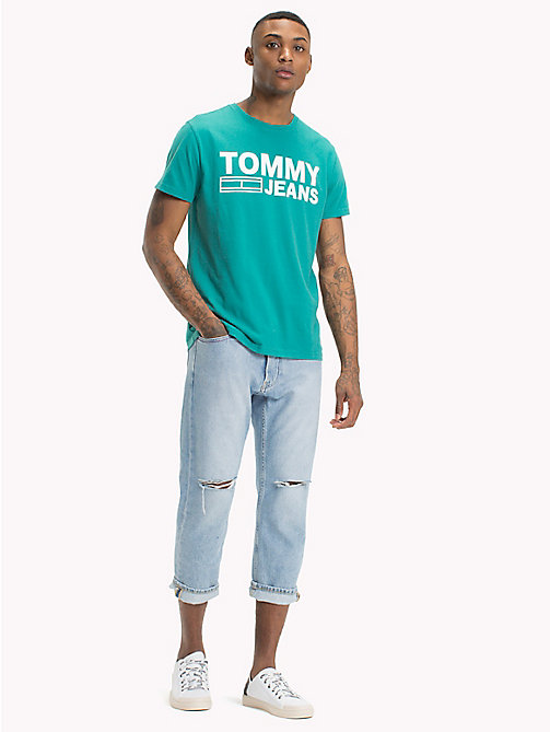 TOMMY JEANS Organic Cotton Logo T-Shirt - GREEN BLUE SLATE - TOMMY JEANS Sustainable Evolution - main image