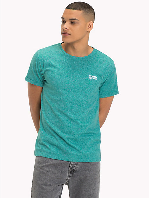 TOMMY JEANS Regular fit jaspe T-shirt - GREEN BLUE SLATE - TOMMY JEANS Kleding - main image