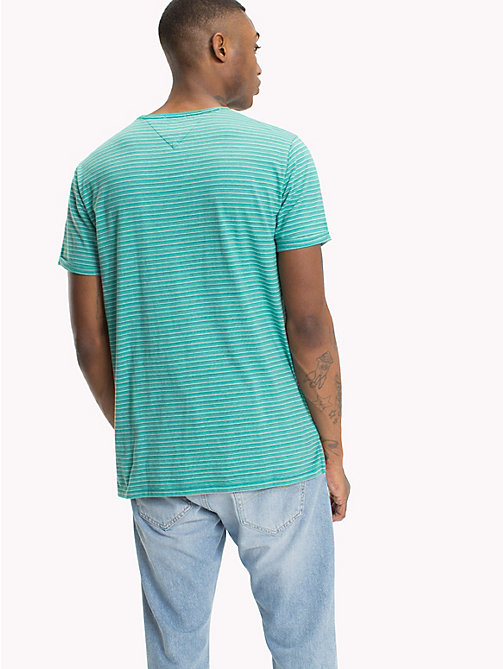 TOMMY JEANS Regular Fit Stripe T-Shirt - GREEN BLUE SLATE - TOMMY JEANS T-Shirts & Polos - detail image 1