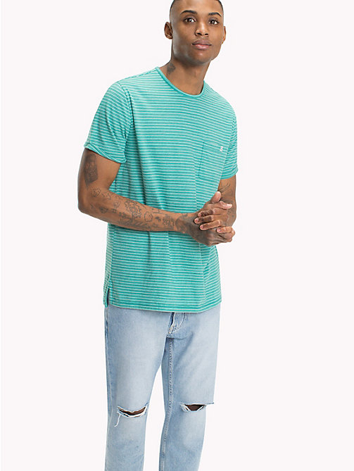 TOMMY JEANS Regular Fit Stripe T-Shirt - GREEN BLUE SLATE - TOMMY JEANS T-Shirts & Polos - main image