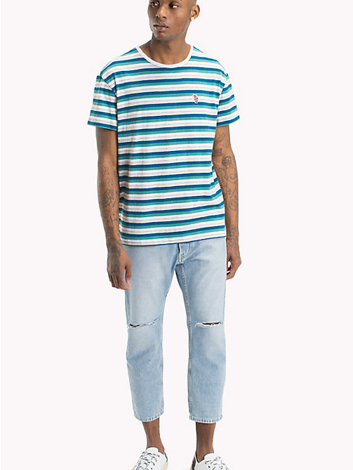 TOMMY JEANS Relaxed Fit Vintage Stripe T-Shirt - GREEN BLUE STATE / MULTI - TOMMY JEANS T-Shirts & Polos - main image