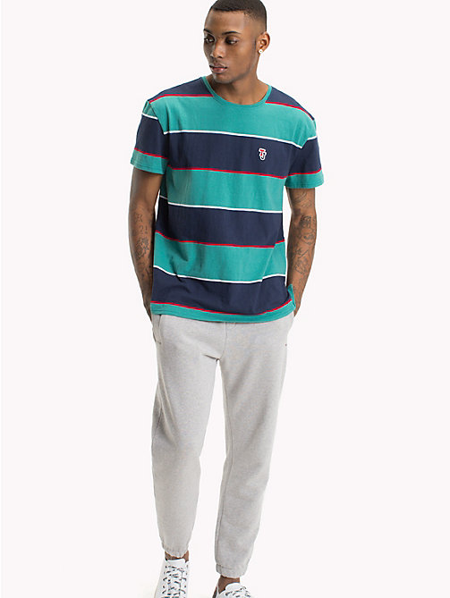 TOMMY JEANS Relaxed Fit Stripe T-Shirt - GREEN BLUE STATE / MULTI - TOMMY JEANS T-Shirts & Polos - main image