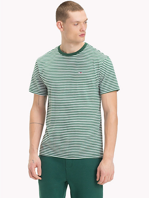 TOMMY JEANS Tommy Classics Striped T-Shirt - HUNTER GREEN - TOMMY JEANS Tommy Classics - main image