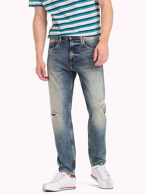 TOMMY JEANS TJ 1988 Distressed Tapered Jeans - DAVIE DIRT BLUE RIGID - TOMMY JEANS Tapered Jeans - main image