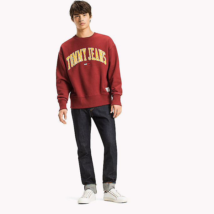 TOMMY JEANS Fleece Logo Sweatshirt - ICE GREY HTR - TOMMY JEANS Clothing - main image