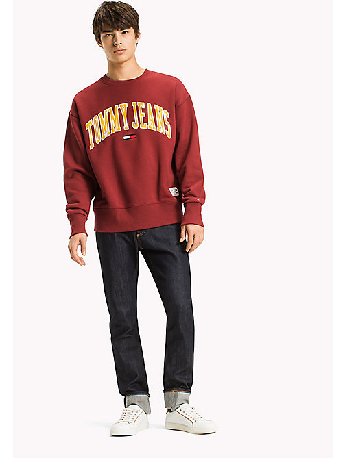 TOMMY JEANS Fleece Logo Sweatshirt - MERLOT - TOMMY JEANS Sweatshirts & Hoodies - main image