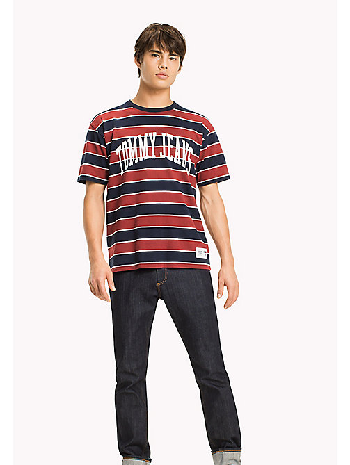 TOMMY JEANS Jersey T-shirt met logo - MERLOT / STRIPE - TOMMY JEANS T-Shirts - main image