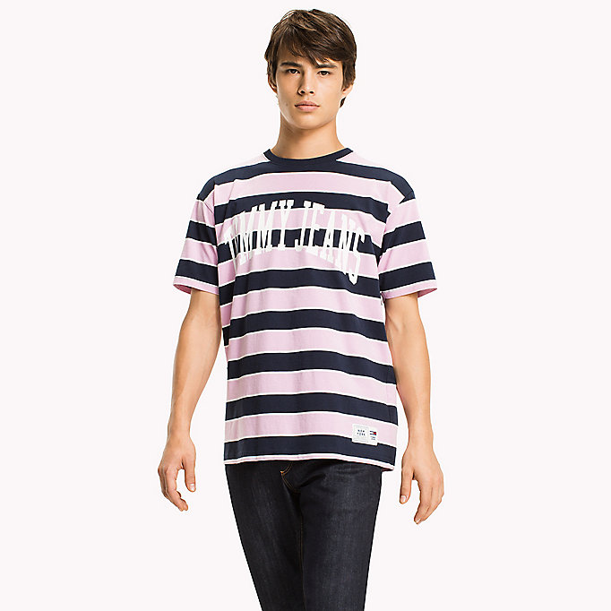 TOMMY JEANS Jersey Logo T-shirt - MERLOT / STRIPE - TOMMY JEANS Clothing - main image
