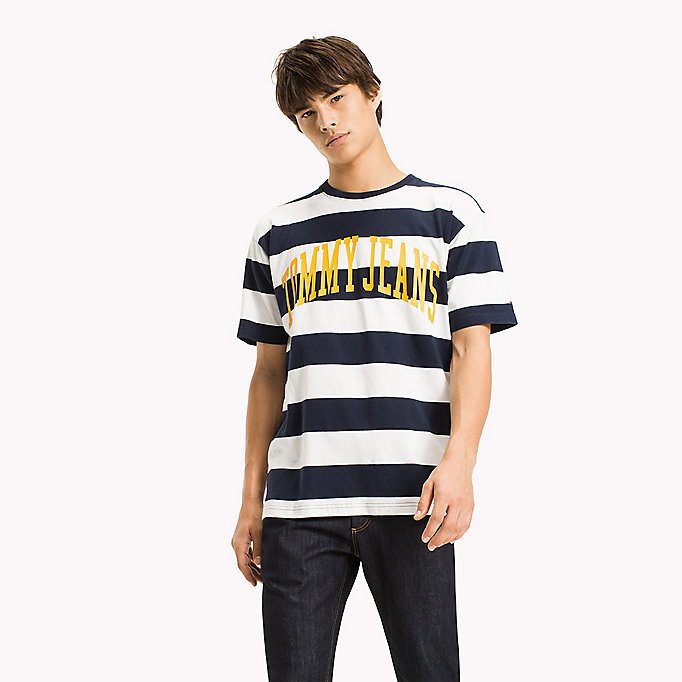 TOMMY JEANS Jersey Logo T-shirt - ORANGEADE / BOLD STRIPE - TOMMY JEANS Clothing - main image