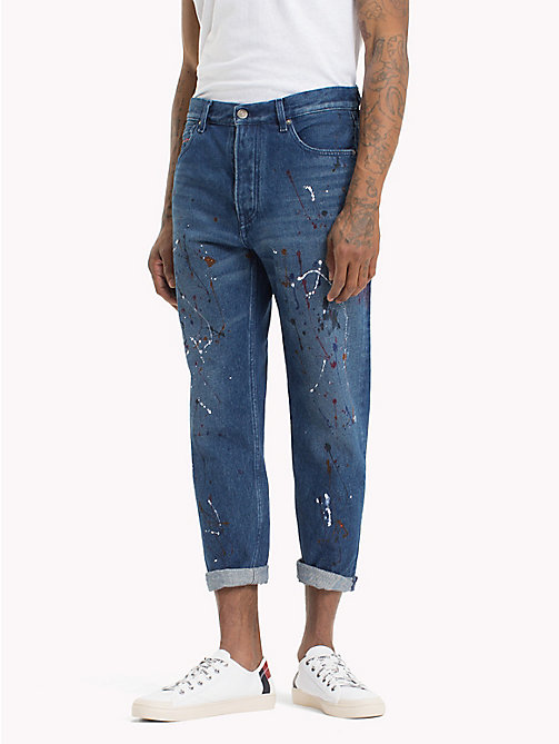 TOMMY JEANS Paint-Splash Cropped Regular Jeans - SPLASH MID BLUE RIGID - TOMMY JEANS Tapered Jeans - main image