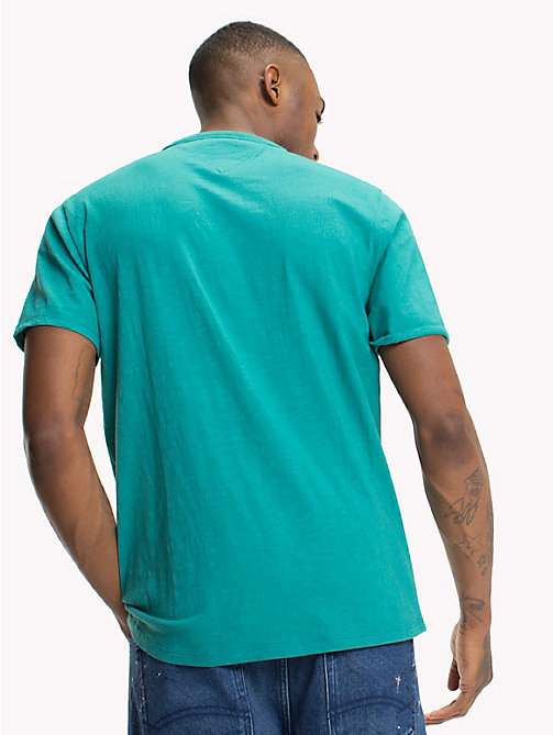 TOMMY JEANS Regular Fit Slub T-Shirt - GREEN BLUE SLATE - TOMMY JEANS T-Shirts & Polos - detail image 1