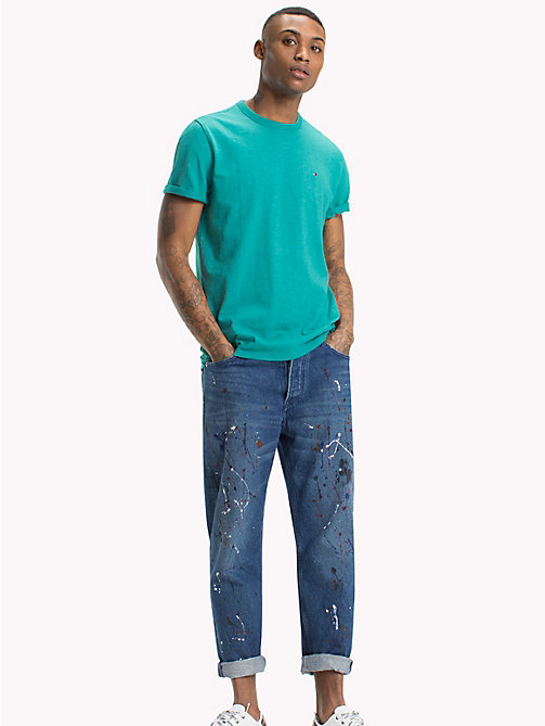 TOMMY JEANS Regular Fit Slub T-Shirt - GREEN BLUE SLATE - TOMMY JEANS T-Shirts & Polos - main image