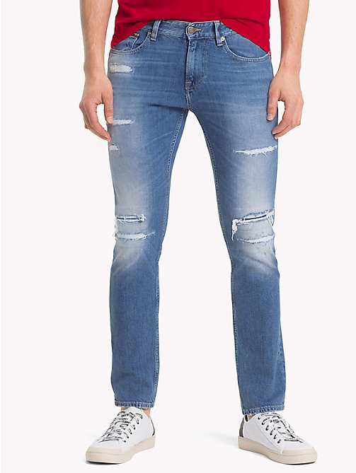 TOMMY JEANS Distressed Slim Fit Jeans - RAY LIGHT BL COM DST - TOMMY JEANS Slim Fit Jeans - main image